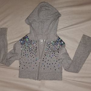 Girls Sparkly Half Sweater W/Hood